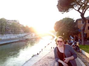 Taking a stroll by the water in Rome